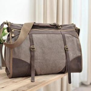 Coffee Canvas Bag Leather Canvas Me..