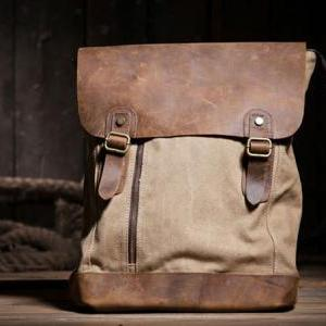 Canvas Bag Leather Canvas Backpacks..