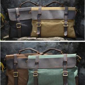 Canvas Leather Bag Canvas Messenger..