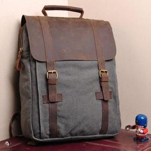 Gray Canvas Backpack School Canvas ..