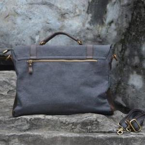 Gray Canvas Leather Bag Canvas Mess..