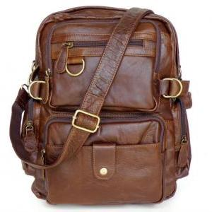 Retro Leather Backpacks Men's Leisu..