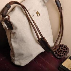 White Canvas Messenger Bag,Canvas L..