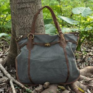 Casual Leather Canvas Bag Canvas Sh..