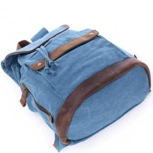 Blue Canvas Backpacks Canvas-leathe..