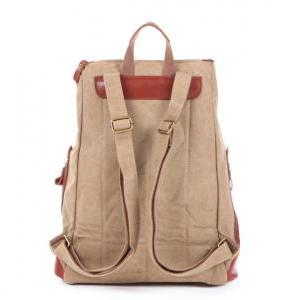 Khaki Leather-Canvas Backpacks Canv..