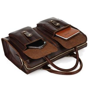 Brown Leather Messenger Bag Multifu..
