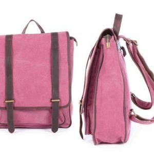 Rose-red Canvas Bag Canvas Backpack..