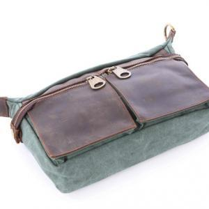 Coral-Green canvas messenger bag, g..