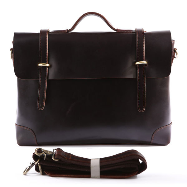 Gifts - Retro Leather Messenger Bag Men's Business Briefcase Leather Handbag Leather Laptop Bag