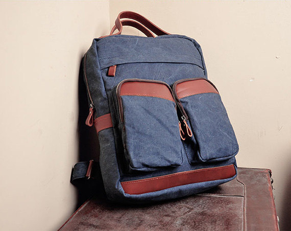 Blue Canvas Bag Canvas Backpacks Leisure Leather/Canvas Backpack Canvas Hangbags