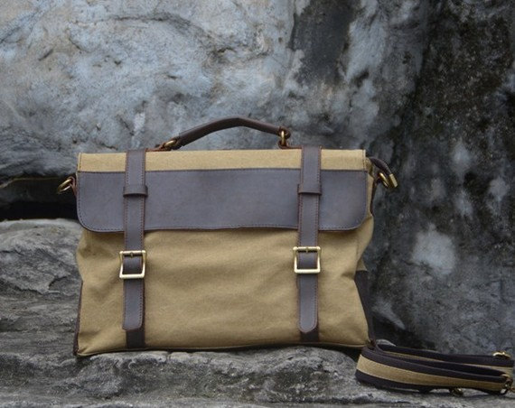 Canvas Leather Bag Canvas Messenger Bag Leisure Canvas Bag Canvas Handbag Student Canvas Bag---khaki,coffee,gray