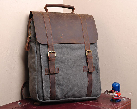 Gray Canvas Backpack School Canvas Backpacks Student Canvas Backpack 15''macbook pro/air bags Packsacks