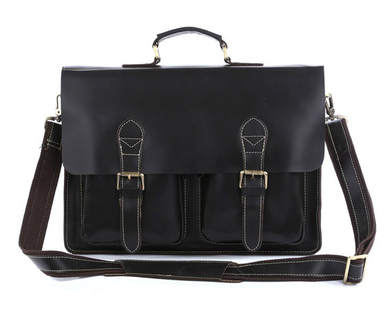 Black Men's Leather Briefcase Leather Messenger Bag Laptop Bag Business Bag For Men