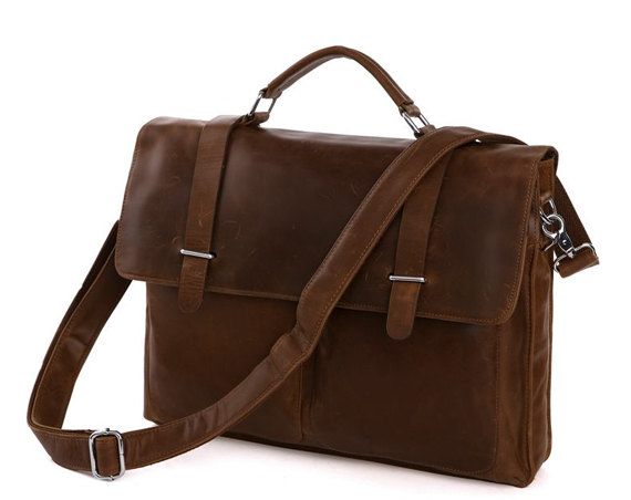 Gifts /Crazy Horse Leather Bag / Men's Brown Business Messenger Bag / Leather Handbag / Leather Laptop Bag / Leather Briefcase