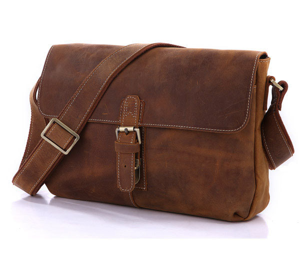 Handmade Leather Messenger Bag /Brown Leather crossbody bags / leather Ipad's Messenger Bag