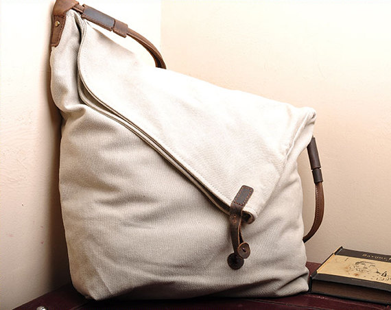 White Canvas Messenger Bag,Canvas Leisure Bags ,Canvas School Bag