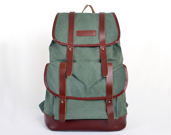 Coral-Green Canvas Backpack Canvas Backpacks Canvas Bags Canvas Double Shoulder Bag