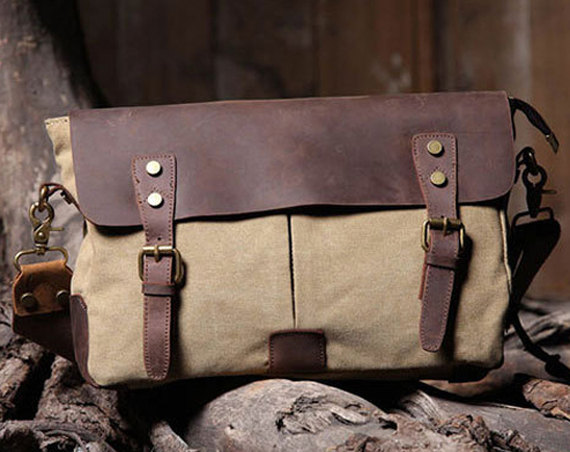Handmade Canvas Leather Bag Canvas Messenger Bag Canvas Leather Bags Canvas Crossbody Bag