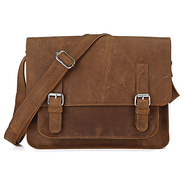 Vintage Handmade Crazy Horse Leather Messenger Bag Leather Briefcase Mens Messenger Bag