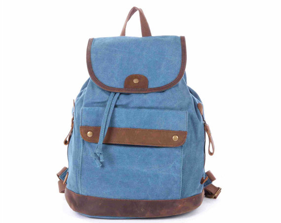 Blue Canvas Backpacks Canvas-leather Backpack Student Canvas Backpack Leisure Packsacks