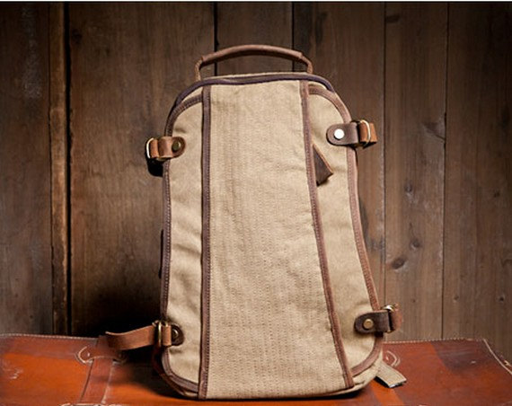 Khaki Canvas Bag Student Canvas Backpacks Leisure Leather/Canvas Backpack School Canvas Bags