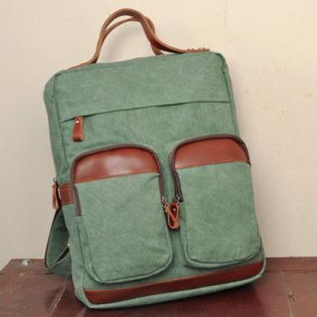 Lake Green Canvas Bag Canvas Backpacks Leisure Leather/Canvas Backpack Canvas Hangbags