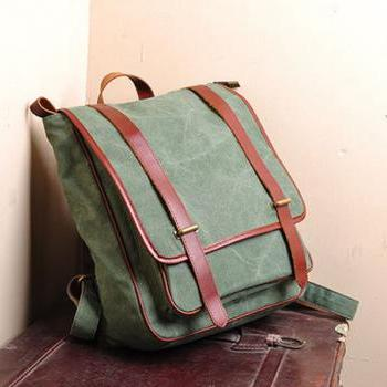 Canvas Bag Canvas Backpacks Leisure Leather/Canvas Backpack ---Cyan