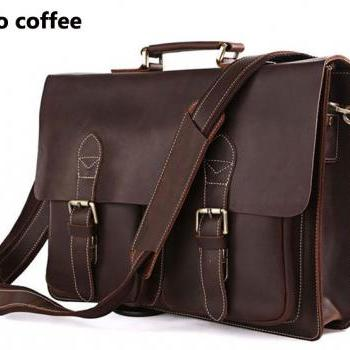 Retro Coffe Men's Leather Briefcase Handmade Leather Messenger Bag Laptop Bag Business Bag For Men