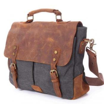 Gray Canvas Bag Canvas messenger bag Leisure Leather/Canvas messenger bag canvas handbag