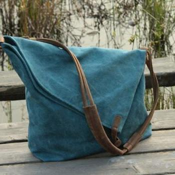 Gift - Blue Canvas Messenger Bag / Canvas Shoulder Bag / Messenger Bag /Canvas Student Bags /Canvas School Bag