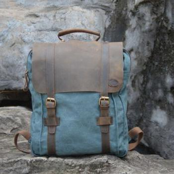 Handmade Leather Canvas Backpack Blue Canvas Backpacks Student Canvas Backpack Leisure Packsack