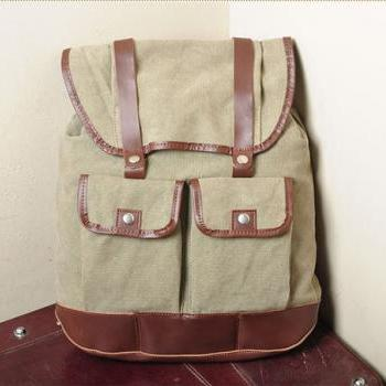 Gift ---Khaki Canvas Backpack, Student Canvas Backpack, Leisure Packsack