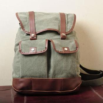 Gift ---Army Green Canvas Backpack, Student Canvas Backpack, Leisure Packsack