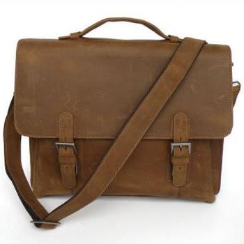 Handmade Crazy Horse Leather Bag / Men's Brown Business Messenger Bag / Leather Handbag / Leather Laptop Bag / Leather Briefcase