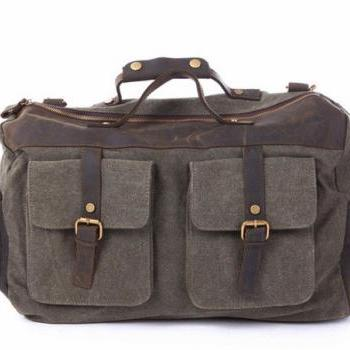 Army Green Canvas & Balck Leather Messenger Bag, Canvas Messenger/ Handbag, Canvas Bag with the Strap