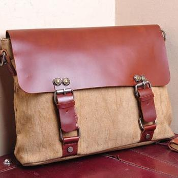 Khaki Messenger bag, Canvas Messenger bags, Leisure Canvas bag ,13'' laptop messenger bag