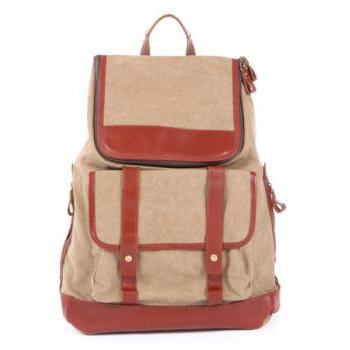 Khaki Leather-Canvas Backpacks Canvas Backpacks Student Canvas Backpack Leisure Packsacks
