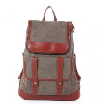 Army Green Leather-Canvas Backpacks Canvas Backpacks Student Canvas Backpack Leisure Packsacks