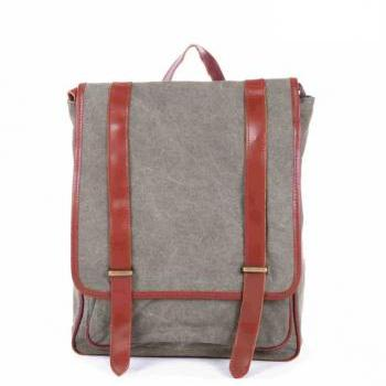 Army green Canvas Bag Canvas Backpacks Leisure Leather/Canvas Backpack