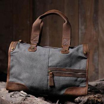 Gray Canvas Bag Canvas Messenger Bag Leisure Canvas Handbag Leather/Canvas Crossbody Bags